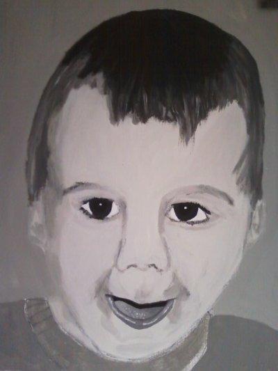 debut du portrait noir et blanc de mon fils