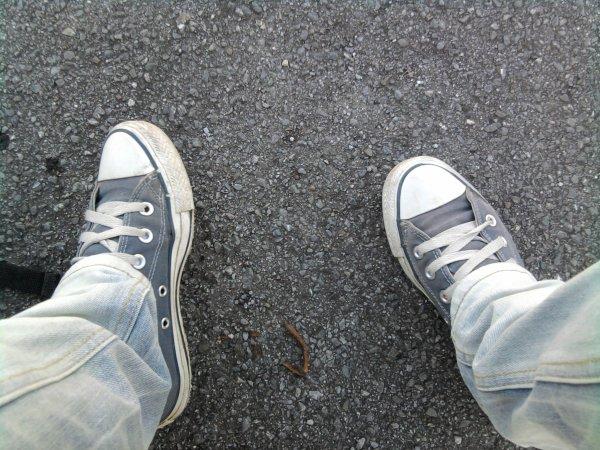 Mes Converse bleues. Dorénavant toutes pétées vu que cette photo date de l'an dernier.
