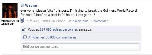 . Lil Wayne bat le record de j'aime sur Facebook contre Oreo .