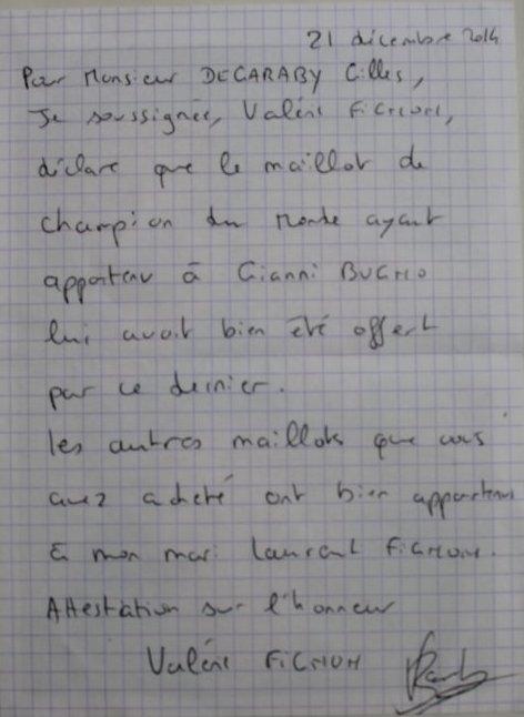 LE MAILLOT DE CHAMPION DU MONDE DE  GIANNI BUGNO
