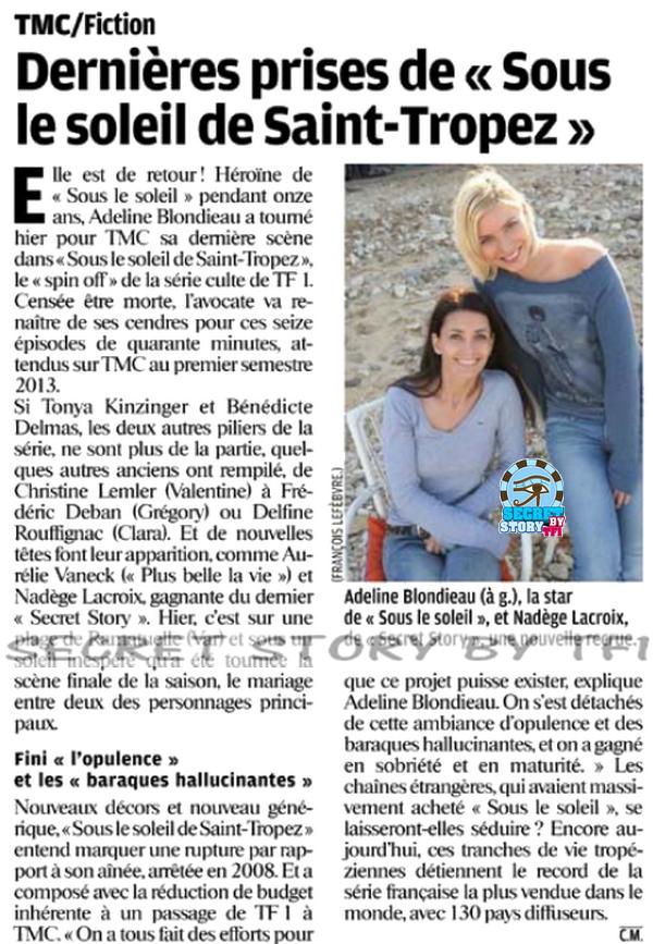 Secret story: dans le parisien de jeudi