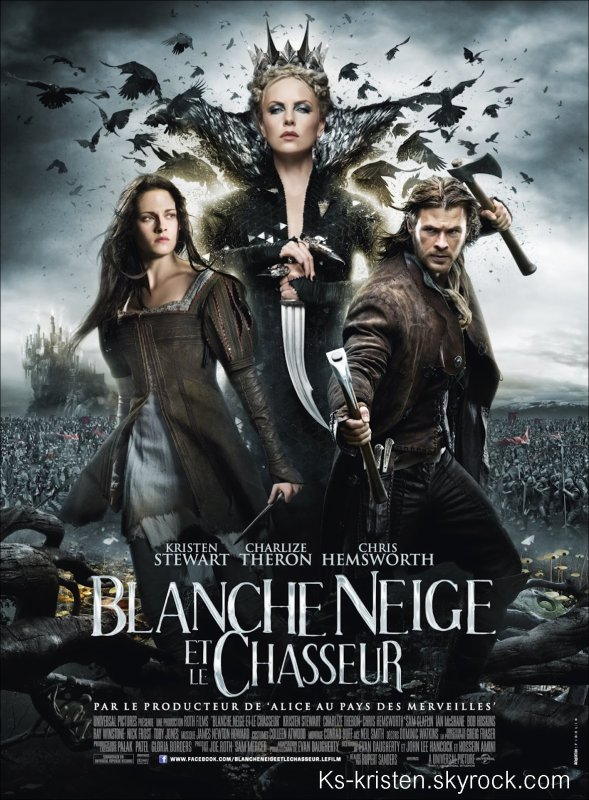 """Still : L'affiche française de """"Blanche neige et le chasseur""""."""