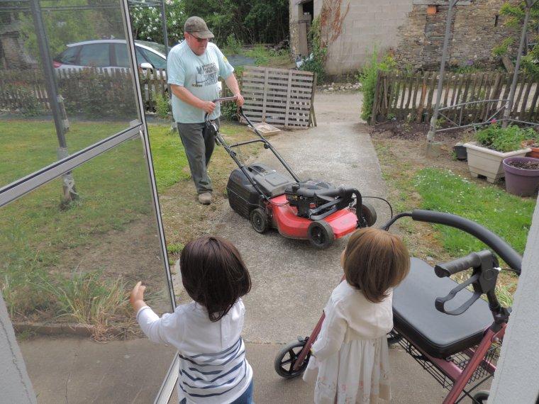 papa tond  la pelouse les grands viennent voir ce bruit incongru