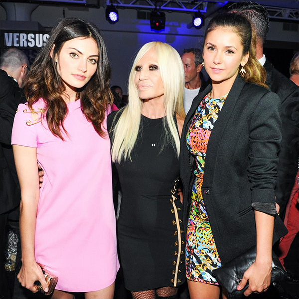 ------07/09/14-Phoebe a enchaînée sa Fashion Week avec le défilé de Versace en compagnie de Nina Dobrev et Kat Graham!