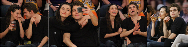 ------ 15/03/15-Phoebe et Paul Wesley (son petit ami) au match de Basket  Hawks VS Lakers au Staple Center