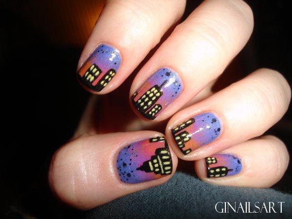 Nail art: City