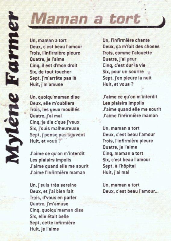mylène farmer  maman a tort