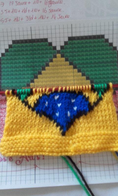 Pochette pr bouillotte tricotée aux  couleur du Brésil