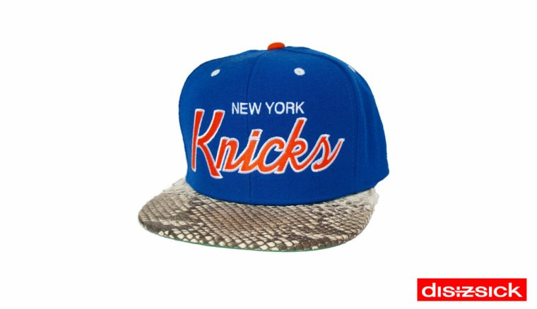 Casquette Snapback Mitchell & Ness Customisee en Reelle Peau de Serpent - Casquette new york knicks Officielle NBA - EDITION LIMITEE/SOLD OUT
