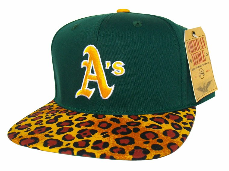Casquette Oackland Athletics A's Customisee avec un Tissu imprime Leopard - Snapback Officielle MLB - EDITION LIMITEE