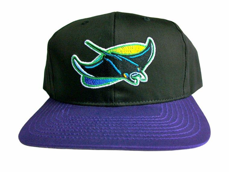 ( snapback hat )Casquette Neuve Ajustable Officielle MLB - VINTAGE TAMPA BAY DEVIL RAYS Snapback - Visiere Plate - Casquette Noire/Violette de Twins