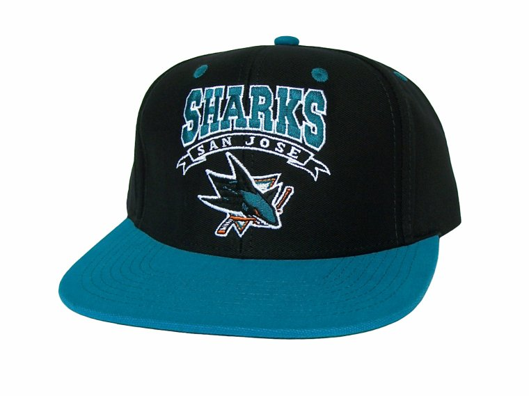 Casquette Neuve Ajustable Officielle NHL - SAN JOSE SHARKS Snapback - Casquette Noire/Turquoise de Reebok