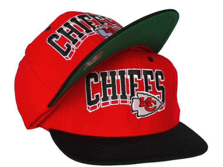 Casquette Neuve Ajustable Officielle NFL - Kansas City CHIEFS Snapback - Visiere Plate - Rouge/Noire Reebok