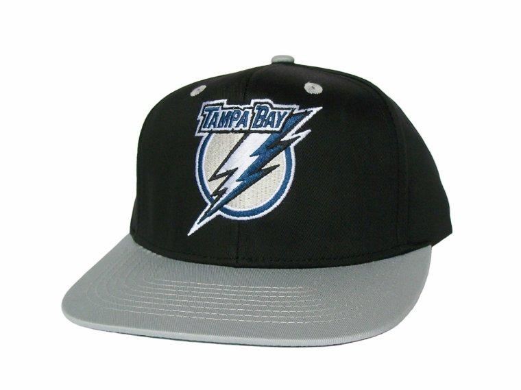 Casquette Neuve Ajustable Officielle NHL - TAMPA BAY LIGHTNING Snapback - Visiere Plate - Casquette Noire/Grise de Reebok