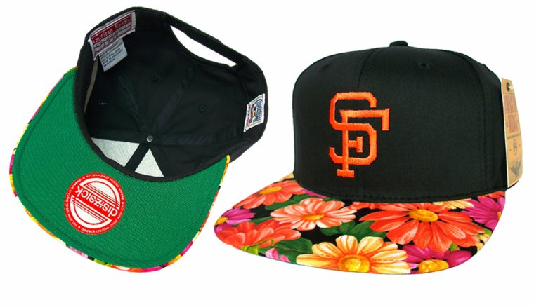 Casquette San Francisco Giants Customisee (Tissu Floral fait main) Snapback - EDITION LIMITEE  Disizsick