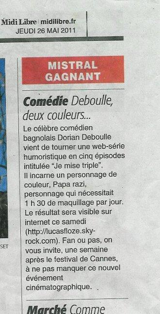 """Article Journal """"MidiLibre""""  - édition du Jeudi 26 Mai 2011"""