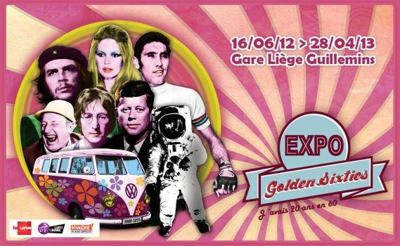 """l'exposition """"Golden Sixties""""  depuis la gare de Liège-Guillemins."""