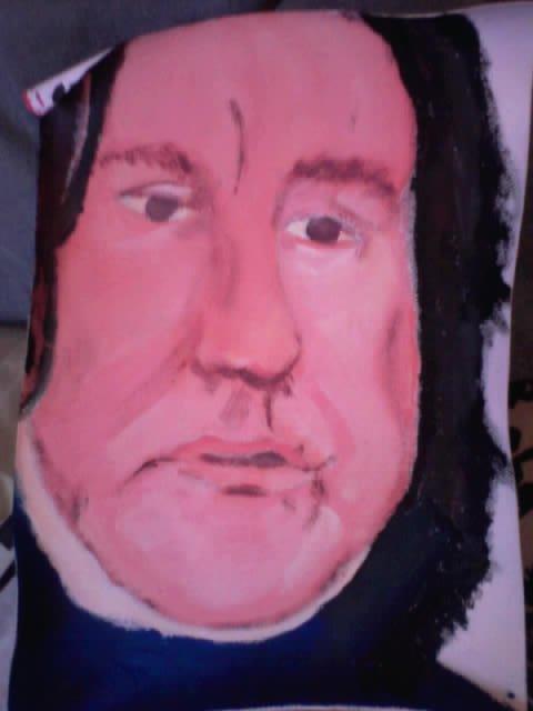 Premier portrait à la gouache sur toile