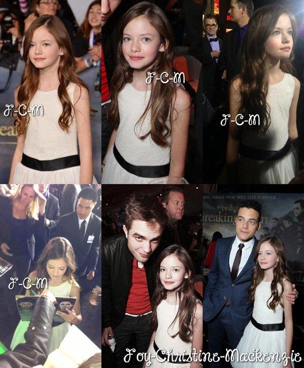 12/11/12 : Mackenzie à l'avant-première mondiale de « The Twilight Saga: Breaking Dawn : Part 2 » à Los Angeles.