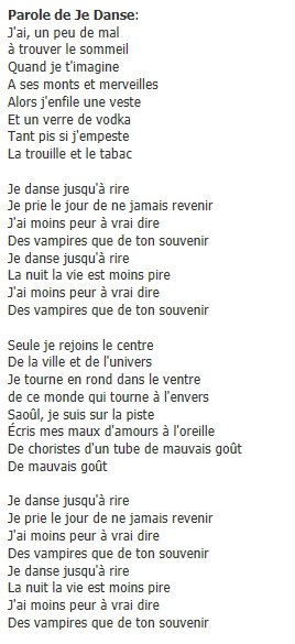 "Paroles de "" je danse "" de jenifer"