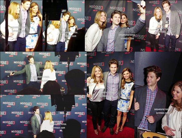 * 12/03/2015 : Sasha était présente à l'avant première du film « Insidious : Chapter 3 » dans Los Angeles.  Sasha était accompagnée se sa co-star Keegan. Elle est également redevenue blonde. Sa tenue est TOP et vous ?  *