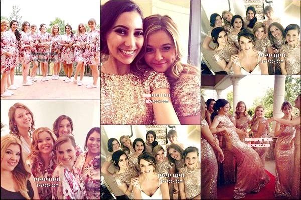 * 25/04/2015 : Sasha était présente avec son chéri Hudson Sheaffer au mariage d'une de ses amies Diane.  Sasha était demoiselle d'honneur. Lors de la soirée Sasha a attrapé le bouquet de la mariée et a laissé un joli message sur Instagram.  *