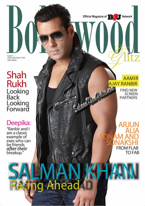 Salman Khan Racing Ahead on the cover of Bollywood Glitz