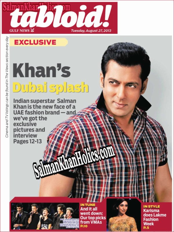 Salman Khan Magazine Gulf NewsTabloid as he turns Brand Ambassador for Splash Fashions