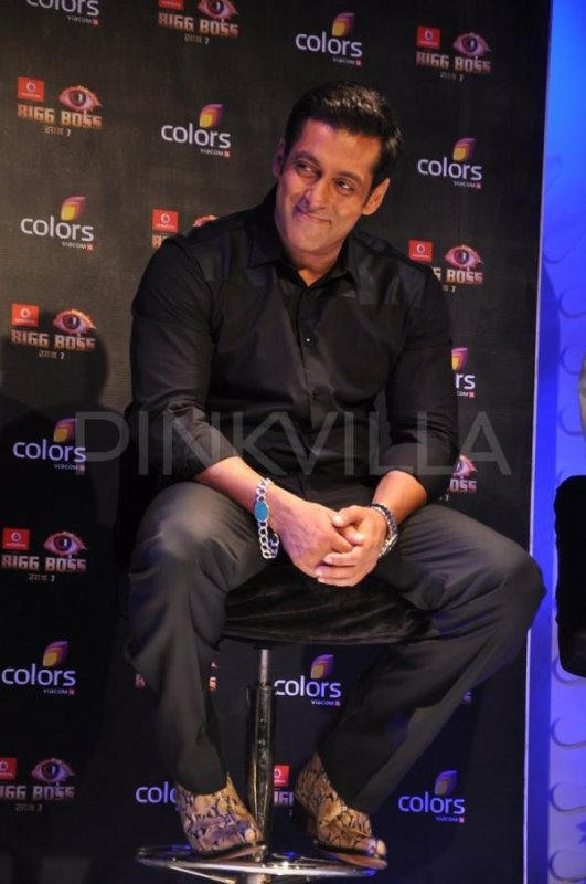 Salman Khan at a press meet Bigg Boss 7
