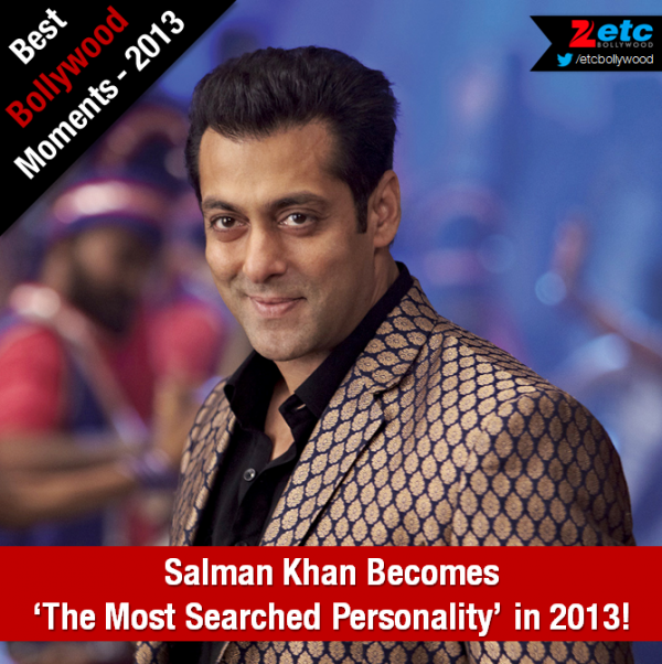 Salman Khan was declared as the most searched personality 2013