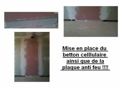 mise en place du betton cellulaire et de la plaque anti. Black Bedroom Furniture Sets. Home Design Ideas