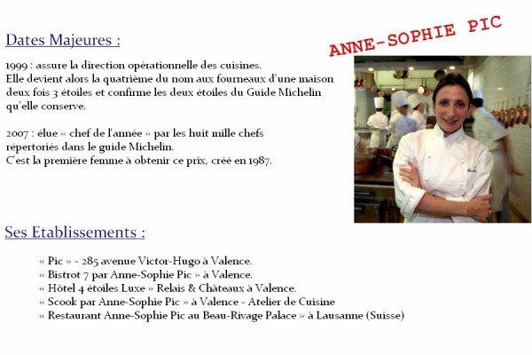 LES GRANDS CHEFS CUISINIERS FRANÇAIS : ANNE-SOPHIE PIC