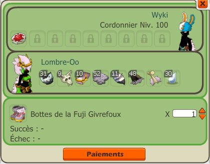 Achat pano fuji ; Craft ; Kolosso ; Kolyzeum ; Embrouille ; Attaque perco ; Bonus ! :)