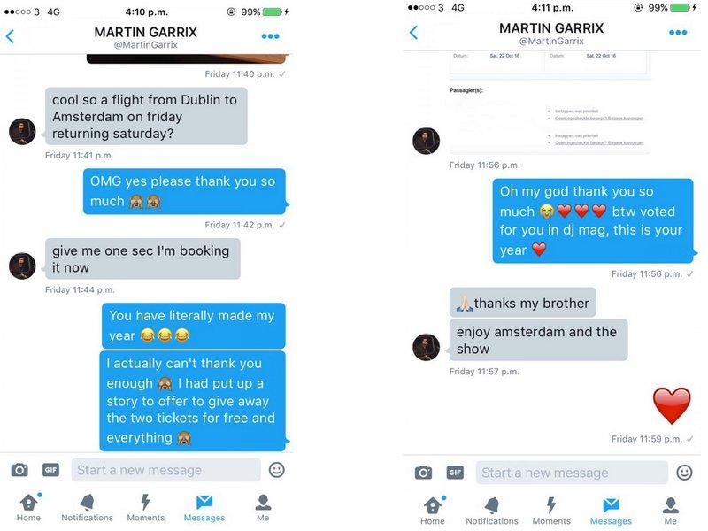 Martin Garrix paie des billets d'avion à un fan qui n'a pas les moyens de se rendre à son concert