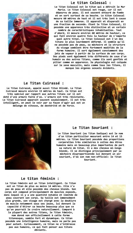 Annexe : Les titans.
