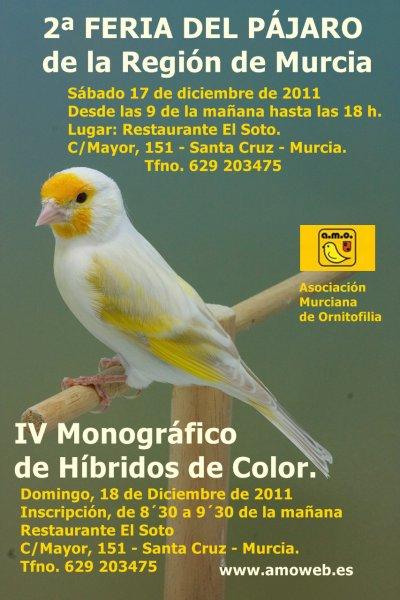 IV MONOGRÁFICO DE HÍBRIDOS DE COLOR + 2ª FERIA DEL PÁJARO A.M.O.