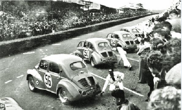 1952 départ des 4 CV aux 24 HEURES DU MANS
