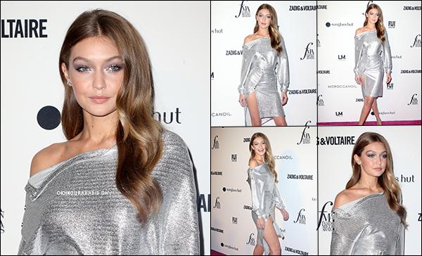 .   06/09/2018 - Gigi était présente à la soirée des « Front Row Fashion Media Awards ». .