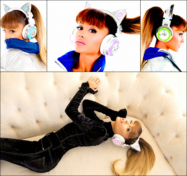 . Ariana G. sort sa marque de casque audio en collab' avec la marque Brookstone. Ces casques seront en vente aux USA pour la modique somme de 150$. Disponibles en rose, bleu, vert ou violet. Shoot par Alfredo Flores.  .