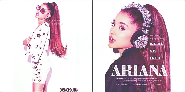- Photoshoot ' ─'Ariana Grande a posée pour le célebre magazine « Cosmopolitan » pour le mois d'Août![/s#00000ize]Elle est juste magnifique! La belle a postée ces clichés sur son instagram (@ArianaGrande)! On attends d'en voir plus...Autres clichés: ♥ ! -