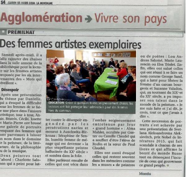 Femmes artistes mises à l'honneur à Prémilhat 12 mars 2016