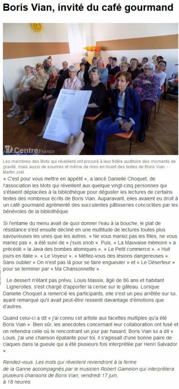 Bibliothèque de Prémilhat-Boris Vian mis à l'honneur par Les Mots qui réveillent
