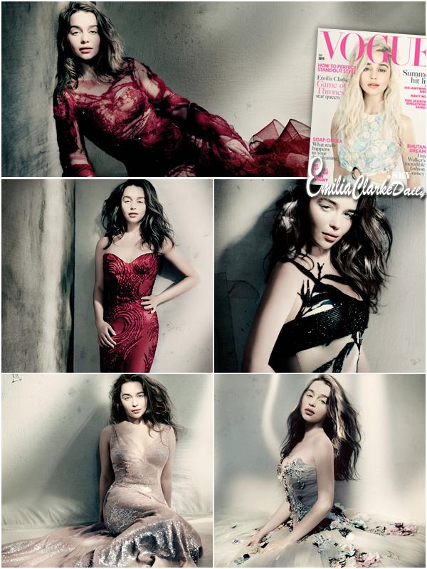 - PHOTOSHOOT ________________________________________Vogue UK  Découvrez encore un tout nouveau photoshoot d'Emilia, cette fois pour la couverture du magazine Vogue UK ! Les photos sont encore magnifiques, nous retrouvons une Emilia très sensuelle et très glamour ! Les tenues sont encore splendides ! Qu'en pensez-vous ?