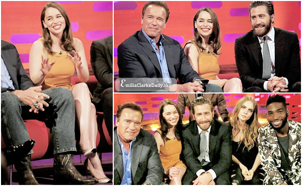 - SHOW TV : 20.06.15 ______________________________________Graham Norton Show  Hier, Emilia était présente à la célèbre émission Anglaise 'Graham Norton Show' pour la promotion de 'Terminator' aux cotés de sa co-star Arnold Schwarzenegger ! Nous la retrouvons toujours dans sa jolie robe orange, elle était juste magnifique ! Elle y raconte la fin choquante de la saison 5 de GOT, son appréhension à lire les scripts et quelques secrets de tournages de la scène de viol de la Saison 1.