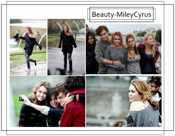 Miley Cyrus sur le tournage de LOL à Paris.