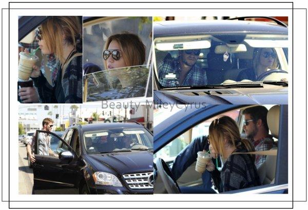 Miley Cyrus et Liam chez Panera Bread puis Starbucks Drive à Studio City, CA.