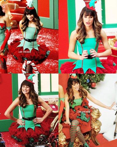 07/ 11 / 13 || Lea (habillée en lutin !) a été vue sur le plateau de tournage et dans un centre commercial avec ses co-stars Naya Rivera et Chris Colfer.