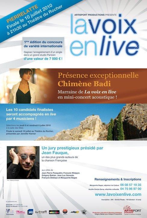 """Concours de chant """"La voix en live"""" parrainé par Chimène Badi"""