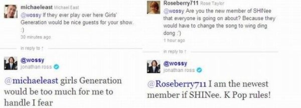 {NEWS} 111030 | Jonathan Ross un invité d'une émission de TV anglaise parle de la Kpop & de ses fans sur Twitter ✰彡