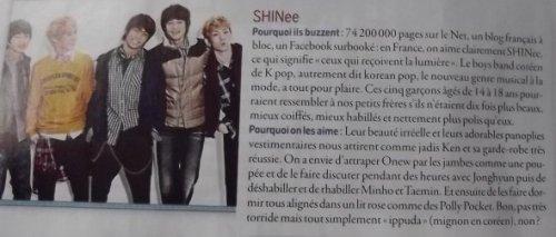 {NEWS} 120409   SHINee mentionné dans le Cosmopolitan français!   ✰彡